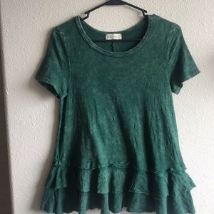 Altar'd State Green Ruffled Top